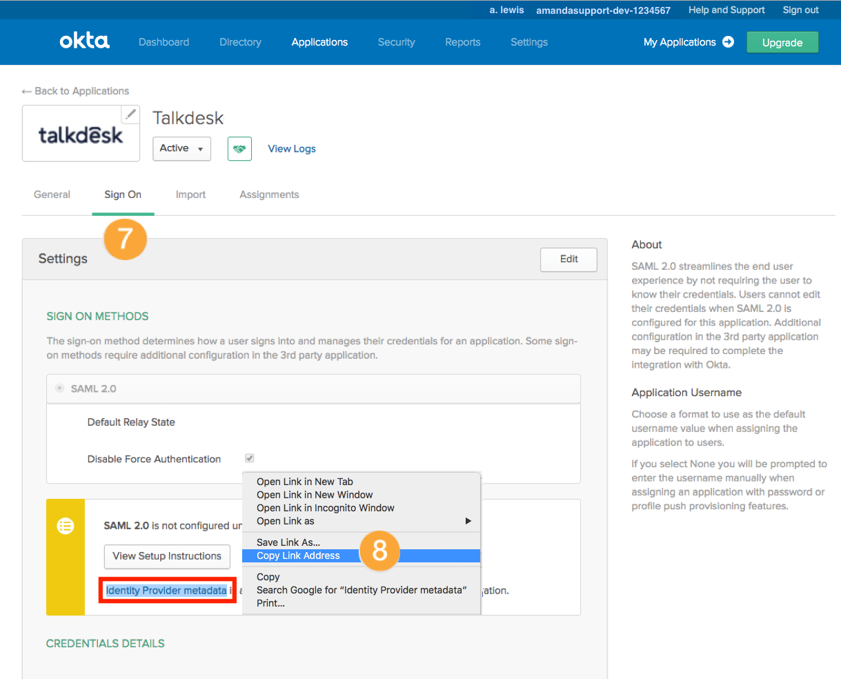 Okta SSO Activation – Talkdesk Support