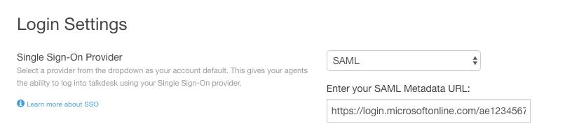 SAML SSO - Microsoft Azure ADFS – Talkdesk Support