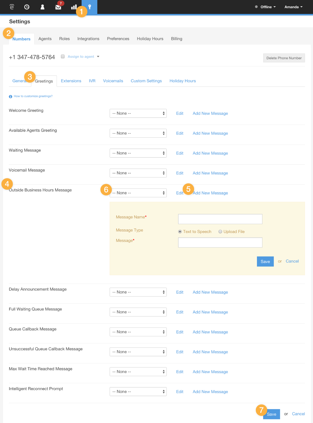 Customizing the outside business hours message talkdesk support log into your talkdesk account as an administrator kristyandbryce Choice Image
